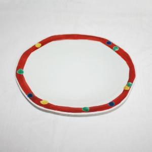 手描き 九谷焼 和洋食器 赤巻水玉文八寸楕円皿|kutani-bitouen
