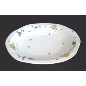 手描き 九谷焼 和洋食器 蝶文八寸楕円皿|kutani-bitouen