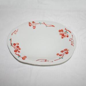 手描き 九谷焼 和洋食器 山帰来文様八寸楕円皿|kutani-bitouen