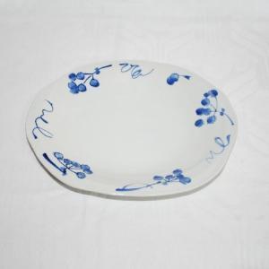 手描き 九谷焼 和洋食器 染付山帰来文八寸楕円皿|kutani-bitouen