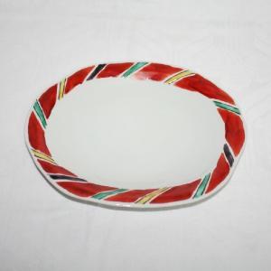 手描き 九谷焼 和洋食器 間道文様八寸楕円皿|kutani-bitouen