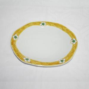 手描き 九谷焼 和洋食器 白花文八寸楕円皿|kutani-bitouen