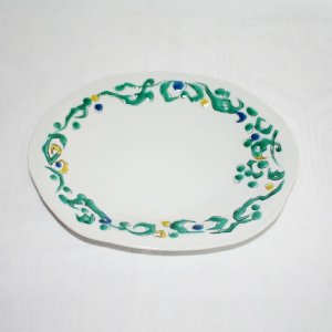 手描き 九谷焼 和洋食器 ペルシャ唐草文八寸楕円皿|kutani-bitouen