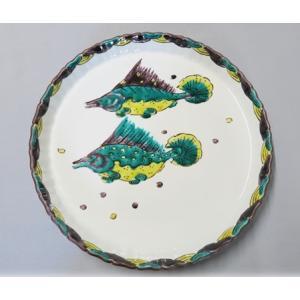 手描き 九谷焼 和洋食器 魯山人うつし 双魚文尺皿|kutani-bitouen