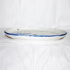 手描き 九谷焼  魯山人うつし 染付蟹文尺一楕円皿 kutani-bitouen 02