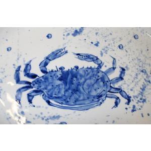 手描き 九谷焼  魯山人うつし 染付蟹文尺一楕円皿 kutani-bitouen 04
