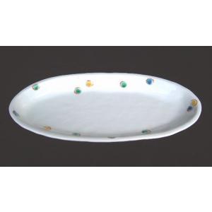 手描き 九谷焼 和洋食器 水玉文尺二細形楕円皿|kutani-bitouen