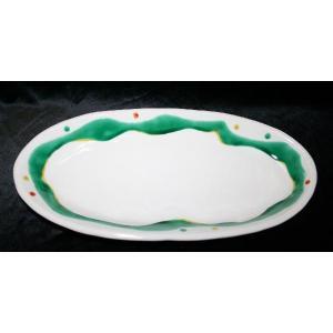 手描き 九谷焼 和洋食器 水玉よろけ文尺二細形楕円皿|kutani-bitouen|05