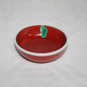 手描き 九谷焼 和洋食器 赤巻水玉文小鉢|kutani-bitouen