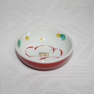 手描き 九谷焼 和洋食器 赤巻椿文小鉢|kutani-bitouen