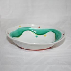 手描き 九谷焼 和洋食器 水玉よろけ文六寸楕円鉢 kutani-bitouen