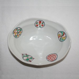 手描き 九谷焼 和洋食器 丸紋六寸楕円鉢|kutani-bitouen|02