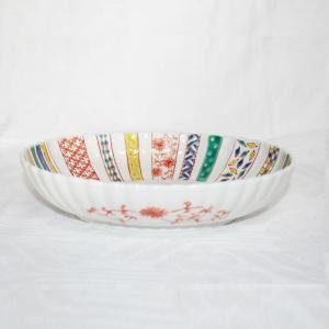 手描き 九谷焼 和洋食器 小紋づくし文様九寸楕円菊鉢|kutani-bitouen