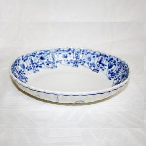 手描き 九谷焼 和洋食器 染付草花文様九寸楕円菊鉢|kutani-bitouen