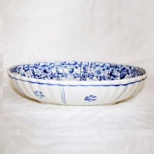 手描き 九谷焼 和洋食器 染付草花文様九寸楕円菊鉢|kutani-bitouen|02