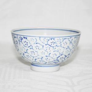 手描き 九谷焼 和洋食器 染付見込梅詰文様お茶碗|kutani-bitouen