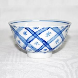 手描き 九谷焼 和洋食器 魯山人うつし 染付矢来文お茶碗|kutani-bitouen