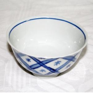 手描き 九谷焼 和洋食器 魯山人うつし 染付矢来文様お茶碗|kutani-bitouen|02