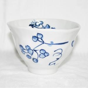 手描き 九谷焼 和洋食器 手起し染付山帰来文様お茶碗|kutani-bitouen