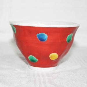 手描き 九谷焼 和洋食器 手起し赤巻水玉文様お茶碗|kutani-bitouen