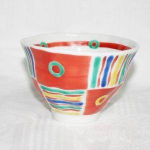 手描き 九谷焼 和洋食器 手起しメキシカン文様お茶碗|kutani-bitouen