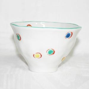 手描き 九谷焼 和洋食器 手起し水玉文様お茶碗|kutani-bitouen