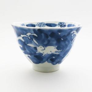 九谷焼 和洋食器 手起し染付兎文様お茶碗|kutani-bitouen