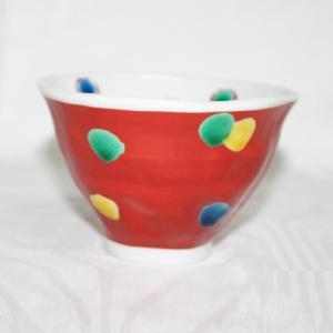 手描き 九谷焼 和洋食器 手起し赤巻水玉文様お茶碗(小)|kutani-bitouen