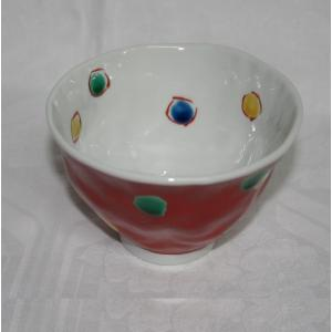 手描き 九谷焼 和洋食器 手起し赤巻水玉文様お茶碗(小)|kutani-bitouen|03