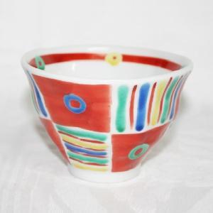 手描き 九谷焼 和洋食器 手起しメキシカン文様お茶碗(小)|kutani-bitouen