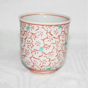 手描き 九谷焼 和洋食器 赤絵梅詰文様湯呑|kutani-bitouen