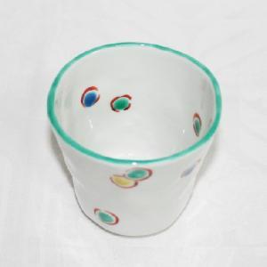 手描き 九谷焼 和洋食器 手起し水玉文お湯呑|kutani-bitouen|02
