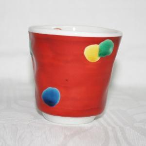 手描き 九谷焼 和洋食器 手起し赤巻水玉文湯呑 kutani-bitouen
