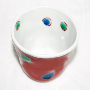 手描き 九谷焼 和洋食器 手起し赤巻水玉文湯呑 kutani-bitouen 02