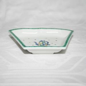 手描き 九谷焼 和洋食器 ペルシャポット文扇形皿(青)|kutani-bitouen|03