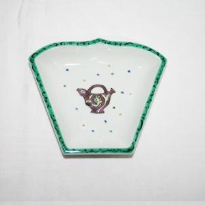 手描き 九谷焼 和洋食器 ペルシャポット文様扇形皿(紫)|kutani-bitouen
