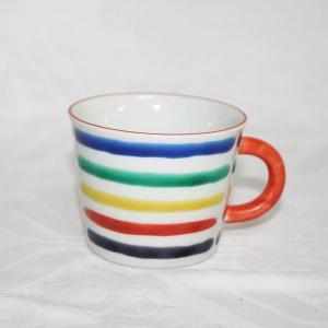 手描き 九谷焼 和洋食器 五彩横縞文様コーヒーカップ C/S|kutani-bitouen|02
