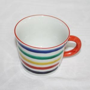 手描き 九谷焼 和洋食器 五彩横縞文様コーヒーカップ C/S|kutani-bitouen|03