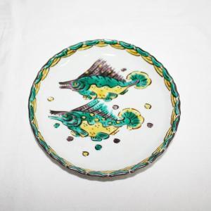 手描き 九谷焼 和洋食器 魯山人うつし 双魚文五寸皿|kutani-bitouen
