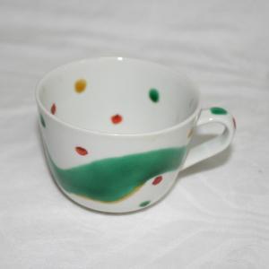 手描き 九谷焼 和洋食器  水玉よろけ文様モーニングカップ C/S kutani-bitouen 03