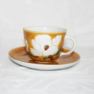 手描き 九谷焼 和洋食器 黄地白花文モーニングカップ C/S  kutani-bitouen