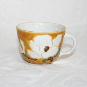手描き 九谷焼 和洋食器 黄地白花文モーニングカップ C/S  kutani-bitouen 02