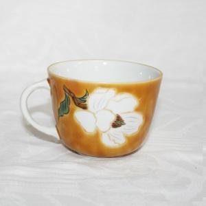 手描き 九谷焼 和洋食器 黄地白花文モーニングカップ C/S  kutani-bitouen 03