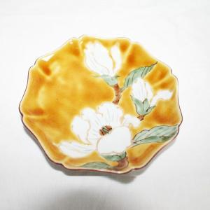 手描き 九谷焼 和洋食器 黄地白花文五寸皿|kutani-bitouen