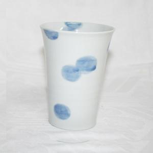 手描き 九谷焼 和洋食器 染付水玉文大カップ|kutani-bitouen