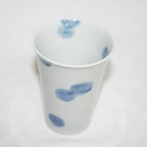 手描き 九谷焼 和洋食器 染付水玉文大カップ|kutani-bitouen|02