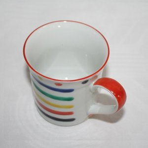 手描き 九谷焼  和洋食器 五彩横縞マグカップ|kutani-bitouen|02