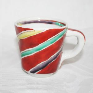 手描き 九谷焼 和洋食器 手起し間道文マグカップ|kutani-bitouen