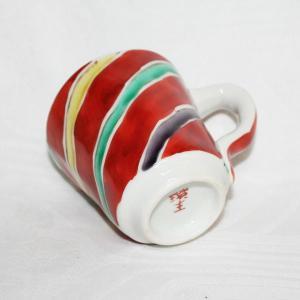 手描き 九谷焼 和洋食器 手起し間道文マグカップ|kutani-bitouen|03