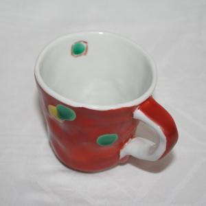 手描き 九谷焼 和洋食器 手起し赤巻水玉文マグカップ(在庫切れ)|kutani-bitouen|02